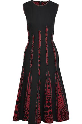 BOTTEGA VENETA Polka-dot crepe de chine-paneled cotton-blend midi dress