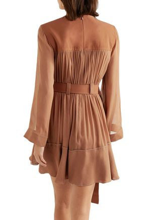 CHLOÉ Belted mousseline and silk-blend crepe mini dress