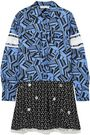 CHLOÉ Embellished printed silk crepe de chine mini shirt dress