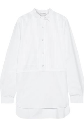 J.W.ANDERSON Paneled pintucked cotton-poplin shirt