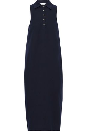 THOM BROWNE Bow-detailed gathered cotton-seersucker midi dress