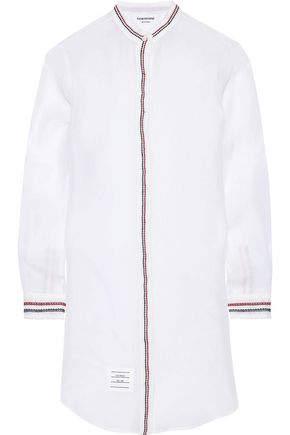 THOM BROWNE Broderie anglaise-trimmed silk-organza mini shirt dress