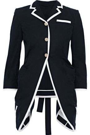 THOM BROWNE Asymmetric gathered cotton-seersucker jacket