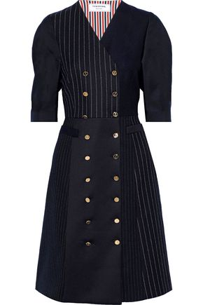 THOM BROWNE Double-breasted silk-twill and pinstriped wool dress