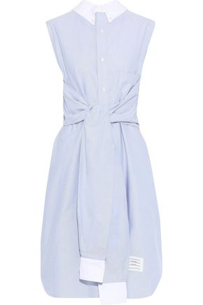THOM BROWNE Tie-front cotton-chambray shirt dress