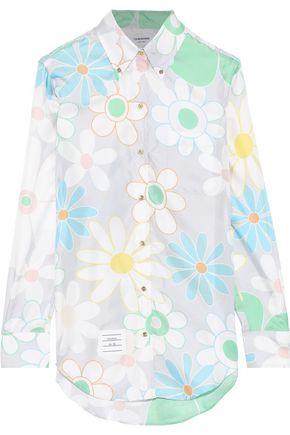 THOM BROWNE Floral-print silk-faille shirt