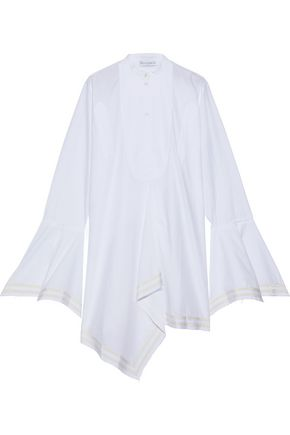 J.W.ANDERSON Fluted grosgrain-trimmed cotton-poplin tunic
