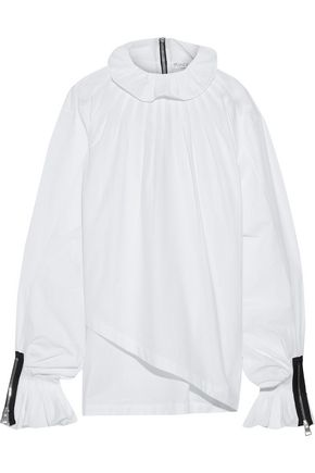 J.W.ANDERSON Asymmetric zip-detailed cotton-poplin blouse