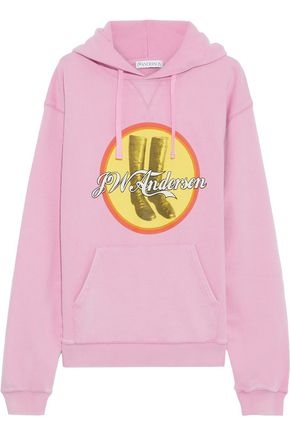 J.W.ANDERSON Printed French cotton-terry hooded sweatshirt
