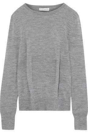 JW ANDERSON Pleated mélange merino wool sweater