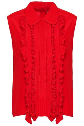 MARNI Ruffle-trimmed pintucked crepe de chine top
