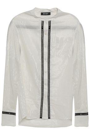 DKNY Metallic striped cotton-blend shirt