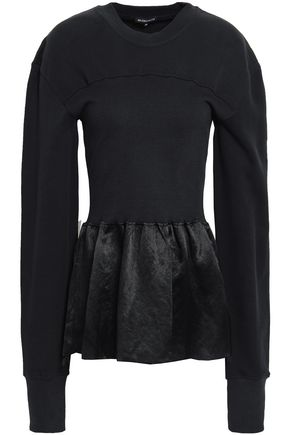 ANN DEMEULEMEESTER Crinkled satin-paneled French cotton-terry sweatshirt