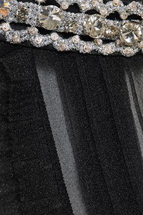 MARC JACOBS Crystal-embellished pintucked crinkled-organza top