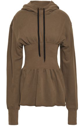 ANN DEMEULEMEESTER Gathered French cotton-terry hooded sweatshirt