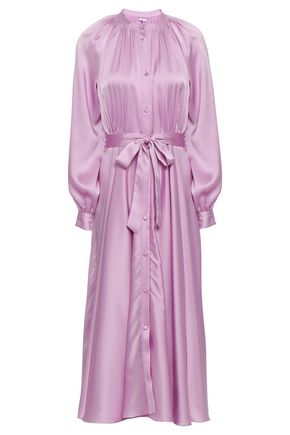 Belted Satin Midi Shirt Dress by Co