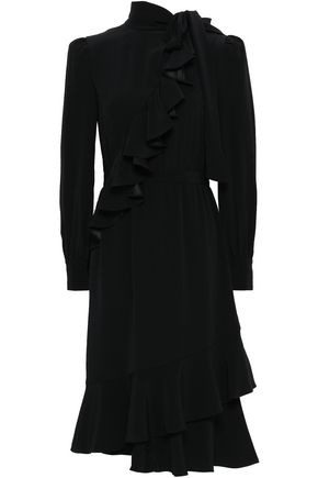 CO Pussy-bow wrap-effect cady midi dress