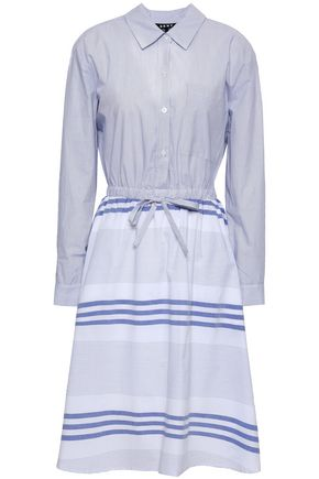 DKNY Paneled striped cotton-poplin shirt dress