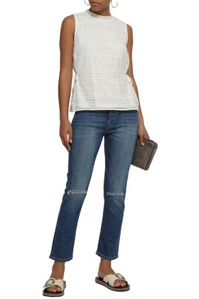 DKNY Lace-up cotton-blend corded lace top