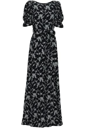 CO Belted floral-jacquard gown