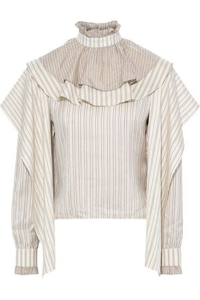 J.W.ANDERSON Draped ruffle-trimmed striped silk-jacquard blouse