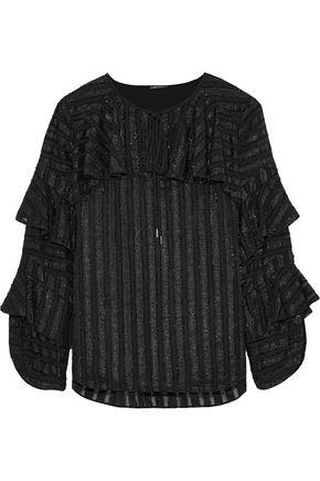 ELIE TAHARI Tiered metallic fil coupé chiffon blouse