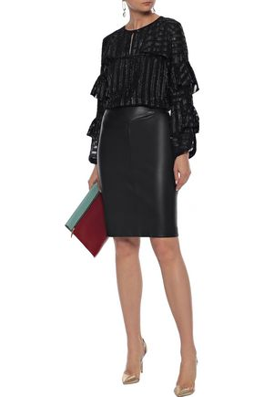 ELIE TAHARI Mirma tiered metallic fil coupé chiffon blouse
