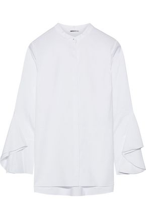 ELIE TAHARI Sukie fluted stretch-cotton twill blouse