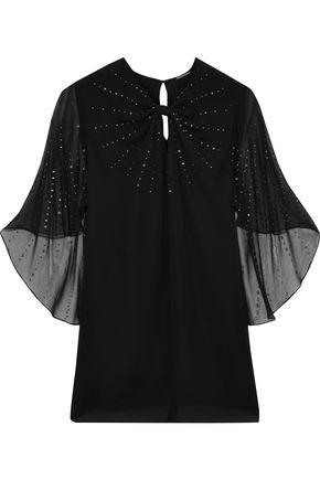 ELIE TAHARI Yona studded chiffon-paneled silk crepe de chine blouse