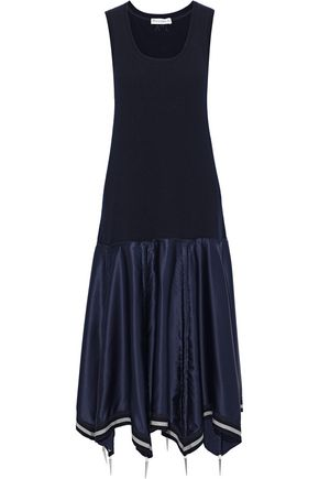 J.W.ANDERSON Stretch-knit and embellished silk-blend satin midi dress