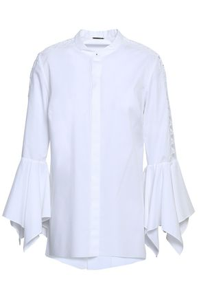 ELIE TAHARI Zila guipure lace-trimmed stretch-cotton poplin shirt