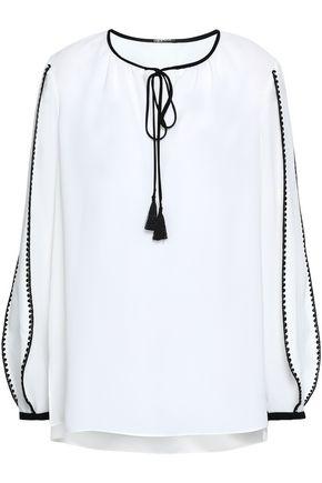 ELIE TAHARI Tassel-trimmed crepe blouse