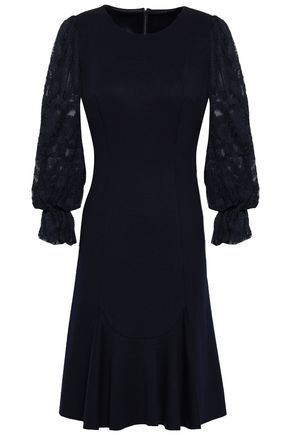 ELIE TAHARI Lizzie embroidered chiffon-paneled ponte dress