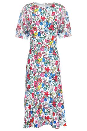 ELIE TAHARI Paneled floral-print cady and voile midi dress