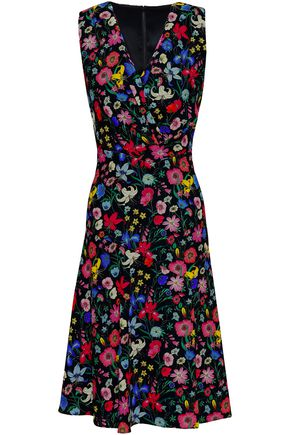 ELIE TAHARI Wrap-effect floral-print cady dress