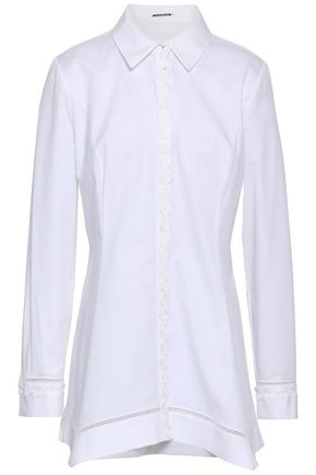 ELIE TAHARI Floral-appliquéd cotton-blend poplin shirt