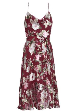 ALICE + OLIVIA Wrap-effect floral-print fil coupé chiffon dress