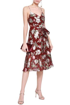 c556811a2d ALICE + OLIVIA Wrap-effect floral-print fil coupé chiffon dress