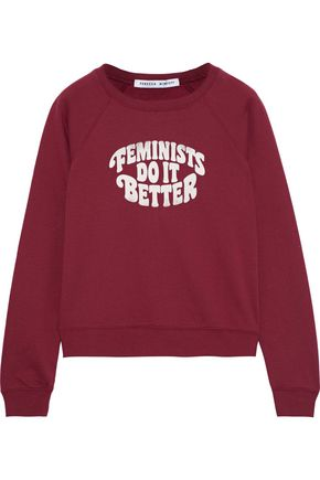 REBECCA MINKOFF Feminist Jennings printed cotton-blend fleece sweatshirt