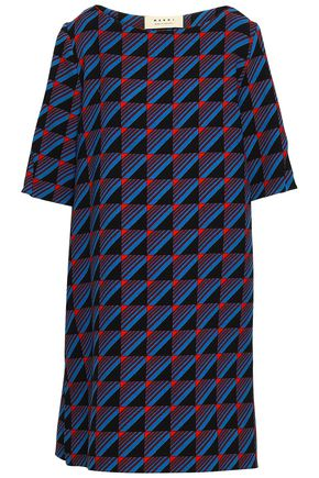 MARNI Printed wool-crepe mini dress