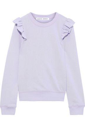 REBECCA MINKOFF Sammy ruffle-trimmed French cotton-blend terry sweatshirt