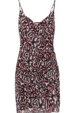 REBECCA MINKOFF Wrap-effect ruched printed chiffon mini dress