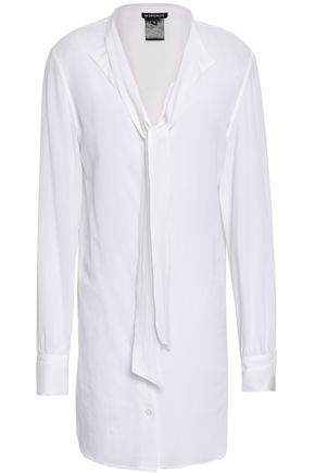 ANN DEMEULEMEESTER Tie-neck cotton-gauze shirt