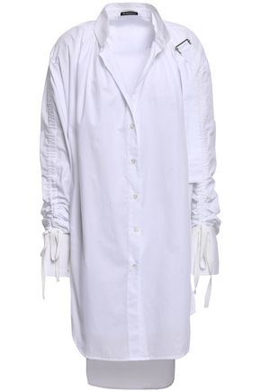 ANN DEMEULEMEESTER Ruched cotton-poplin tunic