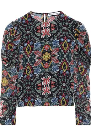 REBECCA MINKOFF Sarabeth gathered floral-print georgette blouse