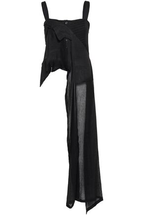 ANN DEMEULEMEESTER Draped wool-blend gauze and pintucked crepe top