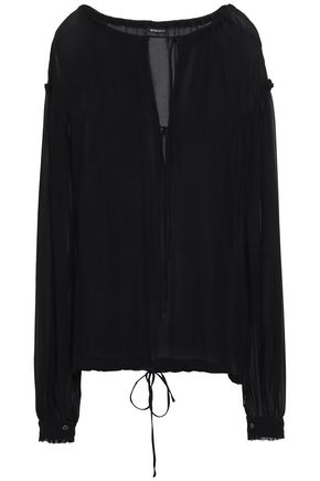 ANN DEMEULEMEESTER Gathered georgette blouse