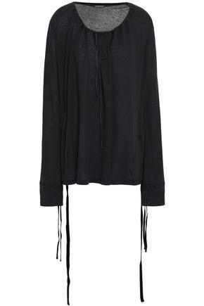 ANN DEMEULEMEESTER Velvet-trimmed cotton and silk-blend jersey top