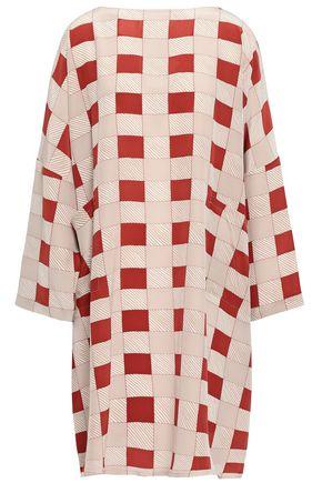 MARNI Checked silk crepe de chine dress