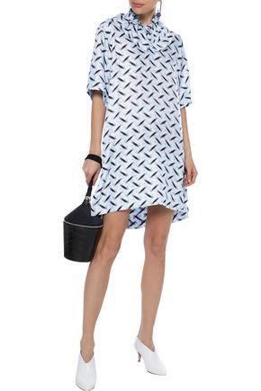 MARNI Ruffle-trimmed printed silk-twill mini dress